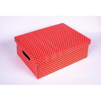 Caja escolar grande 40x30x15 lunares rojo