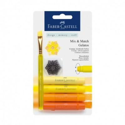 Crayones Acuarelables Gelatos x4 unidades +Stencil +Pincel TONOS AMARILLOS Faber-Castell