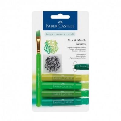 Crayones Acuarelables Gelatos x4 unidades +Stencil +Pincel TONOS VERDES Faber-Castell