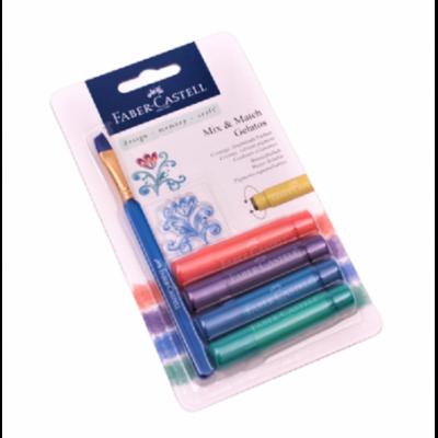 Crayones Acuarelables Gelatos x4 unidades +Stencil +Pincel METALLIC Faber-Castell