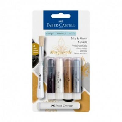 Crayones Acuarelables Gelatos x4 unidades +Stencil +Pincel MASQUERADE Faber-Castell