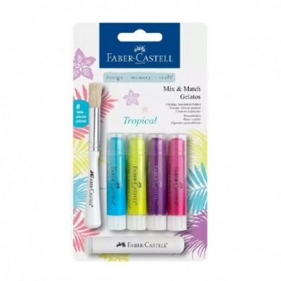 Crayones Acuarelables Gelatos x4 unidades +Stencil +Pincel TROPICAL Faber-Castell