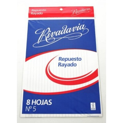 Repuesto Nº 5 x 8 hojas rayado Rivadavia