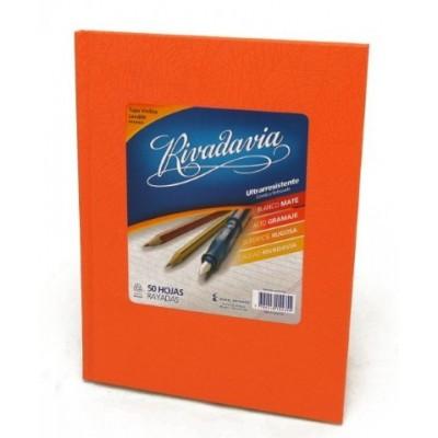 Cuaderno tapa de cartón x 50 hojas rayado naranja Rivadavia