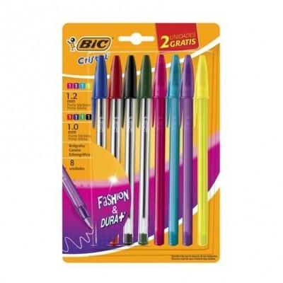 Bolígrafos Cristal Fashion e Intenso x8 +2 Neón BIC