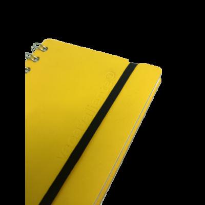 Cuaderno A6 Cuero reciclado amarillo VACAVALIENTE