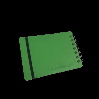 Anotador A6 Cuero reciclado 80 hojas verde VACAVALIENTE