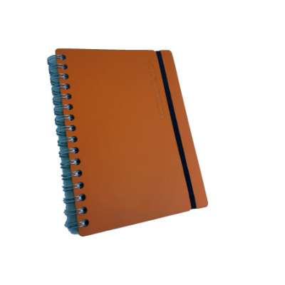 Cuaderno A5 Cuero reciclado rayado 80 hojas naranja VACAVALIENTE