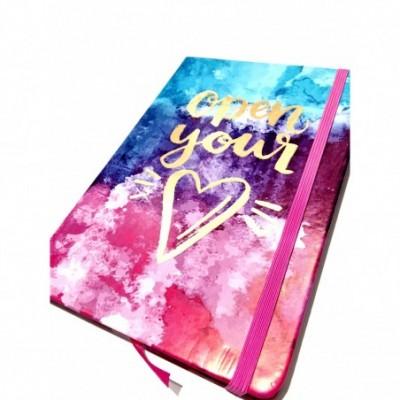 Cuaderno cierre elástico 14x21 cm x96 hojas rayadas OPEN YOUR HEART Talbot