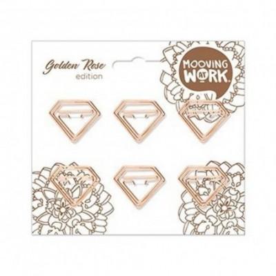 Clips 22x28 mm Diamante Golden Rose x6 unidades Mooving
