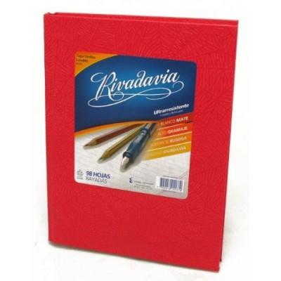 Cuaderno tapa de cartón x 98 hojas rayado rojo Rivadavia