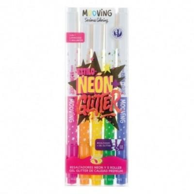 Resaltadores neon +  Roller gel Glitter x 5 colores 2 en 1 MOOVING