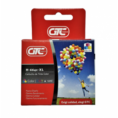 Cartucho para Impresora HP 664 XL COLOR GTC