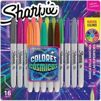 Marcador Permanente Fino Colores Cósmicos x16 unidades Sharpie