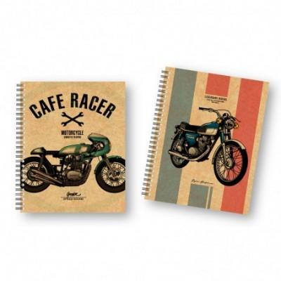 Cuaderno A4 CUADRICULADO Tapa dura Moto Retro x96 hojas Onix