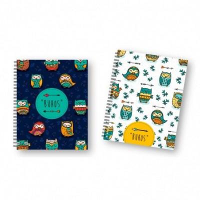 Cuaderno 16x21 cm RAYADO Tapa dura con elástico Búhos x96 hojas Onix