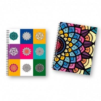 Cuaderno 16X21 cm CUADRICULADO Tapa dura Mandalas Metalizados x96 hojas Onix