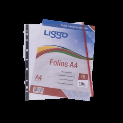 Folios borde color Rojo A4 x10 unidades Liggo