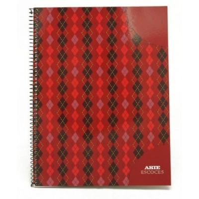 Cuaderno con espiral A4 tapa flexible escoces x 80 hojas rayado Arte