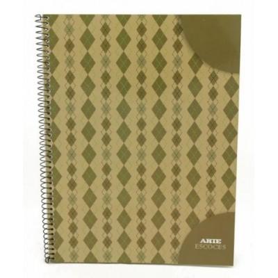Cuaderno con espiral A4 tapa flexible escoces x 80 hojas cuadriculado Arte
