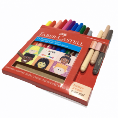 Marcador CARAS & COLORES x12 colores +3 tonos piel Faber-Castell