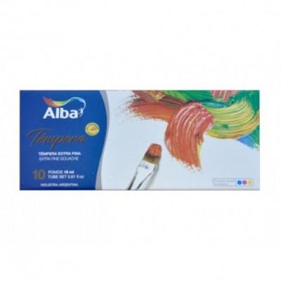 Set Témpera Profesional Extrafino de 18 ml estuche x10 unidades Alba