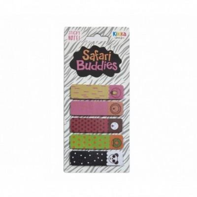 Señalador Banderita 12x45 mm SAFARI BUDDIES blister x5 blocks Kikka
