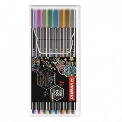 Set Marcador Pen 68 METALIZADOS x8 colores surtidos estuche plástico Stabilo