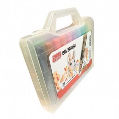 Set Marcadores Punta Pincel BIG BRUSH x20 colores valija plástica Trabi