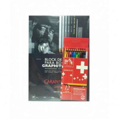 Set de Lápices Acuarelables Swisscolor +Block Boceto Graphite Line 130 Gramos Caran D'Ache