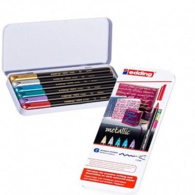 Set Marcador Colourpen Art 1200 Metallic x6 colores lata Edding