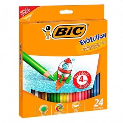 Lápices de Colores EVOLUTION 4 mm x24 unidades estuche BIC