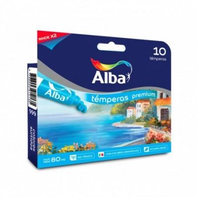 Témpera Premium x8 ml TRADICIONAL +CROMATICO estuche x10 colores surtidos Alba
