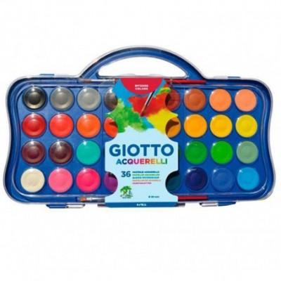 Set de Acuarelas x36 pastillas de 30 mm estuche plástico Giotto