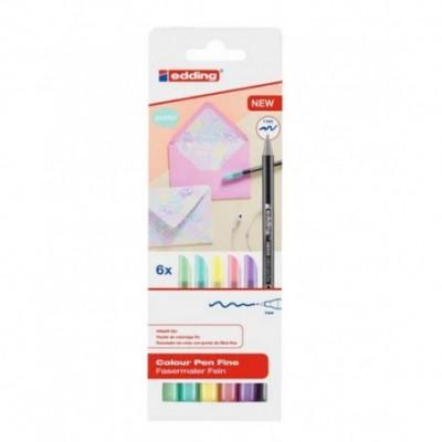 Set Marcador Colourpen Pastel 1200 Pastel x6 colores estuche Edding