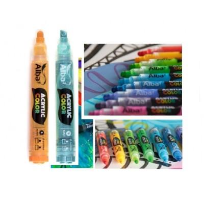Marcador Acrylic Color trazo 6 mm Alba colores