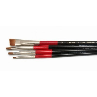 Pincel marta rojo angular mango corto Serie 3158 Casan desde N°2