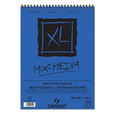 Block Multitécnica espiralado A3 XL Azul Media de 300 gramos x30 hojas Canson