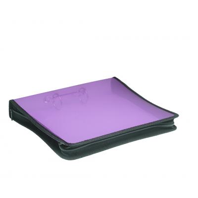 Carpeta A4 2 anillos de 40 mm Violeta plastica lisa con cierre Rideo