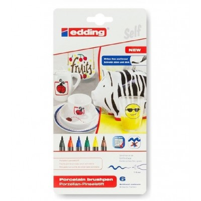 Marcador Permanente Porcelana/ Cerámica/ Vidrio apto horno Set x6 colores tradicionales Edding