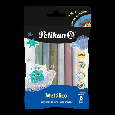 Crayones x6 colores Jumbo metálicos Pelikan