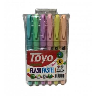 Resaltadores Flash PASTEL x6 colores surtidos Toyo