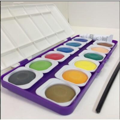 Set de acuarelas x 12 colores en pastillas removibles de 30mm REBHAN