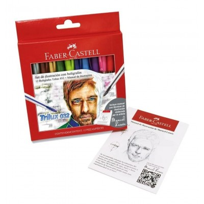 Set de ilustración de 12 bolígrafos Trilux 032+Manual de ilustración Faber-Castell