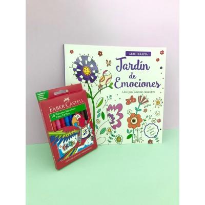 """Combo Marcadores Fiesta x 10 + libro de arte """"Jardín de emociones"""""""