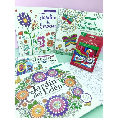 """Combo Marcadores Fiesta x 10 + libro de arte """"Jardín de sentimientos"""""""