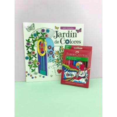 """Combo Marcadores Fiesta x 10 + libro de arte """"Jardín de colores"""""""