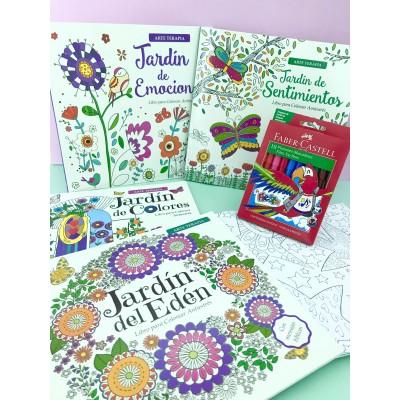 """Combo Marcadores Fiesta x 10 + libro de arte """"Jardín del Edén"""""""
