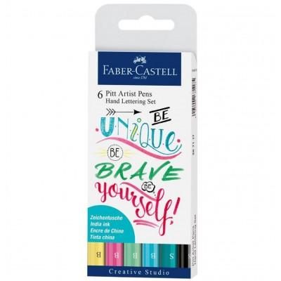 Set de Marcadores Pitt Artist Pen Lettering Pastel x6 piezas Faber-Castell