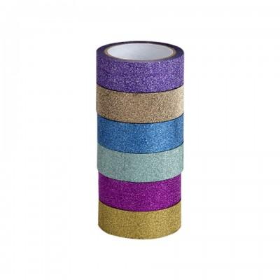 Cinta adhesiva decorativa de 1,5cm x5 metros GLITTER Washi Tape x unidad Talbot